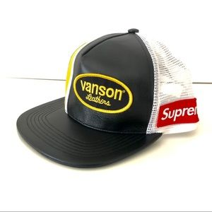 NWT Supreme x Vanson leather mesh back cap SS20